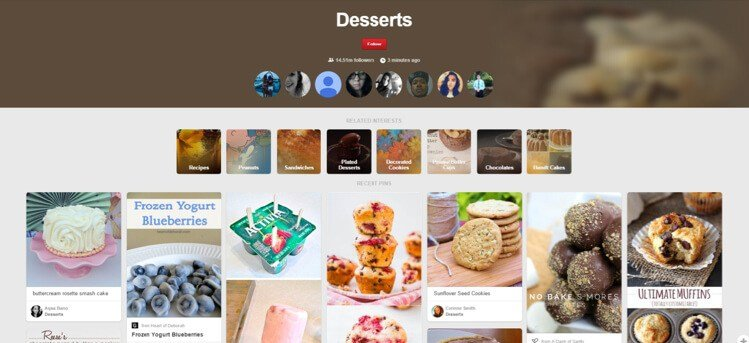 desserts section on pinterest